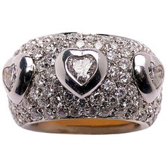 Cellini Jewelers 18 Karat White Gold, 3.39 Carat Diamond Hearts Ring