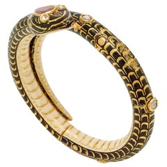 Antique Serpent Gold Diamond Spinel Bracelet