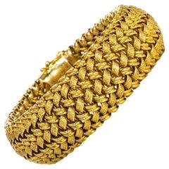 Rare Large 1950/60s Patek Philippe 18kt Yellow Gold Herringbone Motif Bracelet