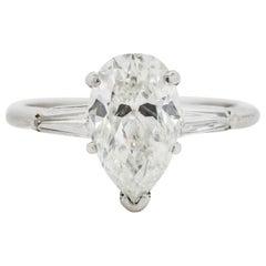 Vintage 1.98 Carat Pear Shape G.I.A. Diamond Platinum Ring