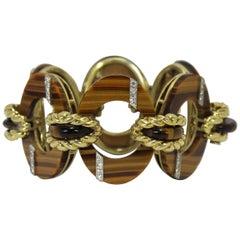 Outstanding Tiger's Eye Gold and Diamond Bracelet