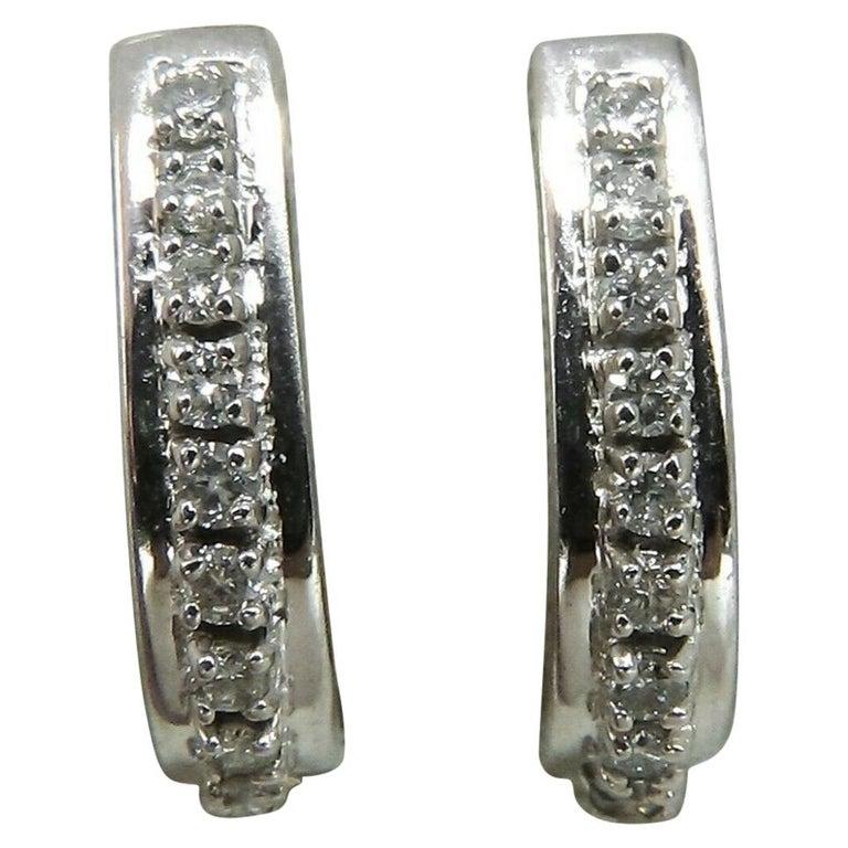 960ee1b70 60 Carat Diamonds Semi Hoop Earrings 14 Karat For Sale at 1stdibs