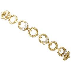 Vintage 1970s Diamond Yellow Gold Bracelet