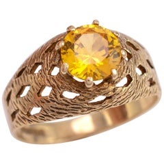 Vintage 19780s Chunky Citrine Solitaire Ring 9 Karat Gold Hallmark Dated 1974