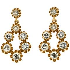 Old Cut Diamonds 18 Karat Yellow Gold Drop Earrings