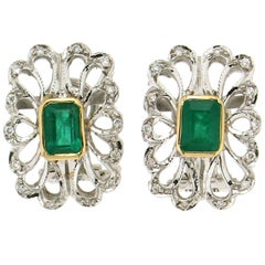 Colombian Emeralds 18 Karat White Gold Clip-On Earrings