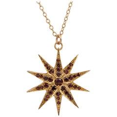 Vintage Garnet Starburst Pendant Necklace circa 1960s