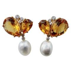Michael Kneebone Citrine Diamond Baroque South Seas Pearl Dangle Earrings
