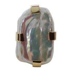 Michael Kneebone Tile Pearl 18 Karat Gold Cocktail Ring