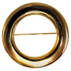 High Shine Circular Gold Pin 14 Karat