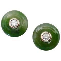 Michael Kneebone Green Jadeite White Diamond Stud Earrings