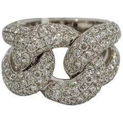 5.25 Carat 18 Karat White Gold Diamond Curb Link Band Ring