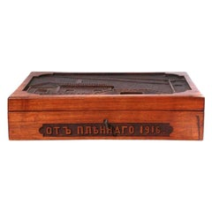 WWI Carved Russian Wood Box Dated 1916