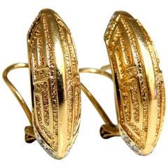 Crescent Greek Symbol Midcentury Earrings Clips 14 Karat