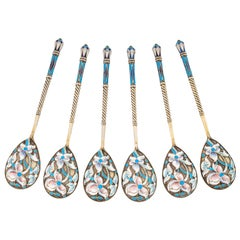 Set of Six Shaded Enamel Silver Teaspoons, 20th Century