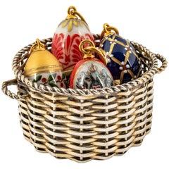 Miniature Silver Gilt Easter Egg Basket, Late 19th Century