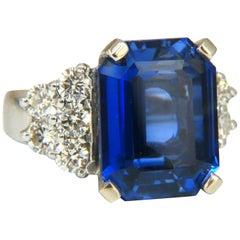 11.32 Carat Lab Sapphire Diamonds Ring Vivid Royal Blue 14 Karat