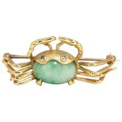 Vintage 8 Carat Natural Jade Pin Cancer Zodiac Crab 18 Karat