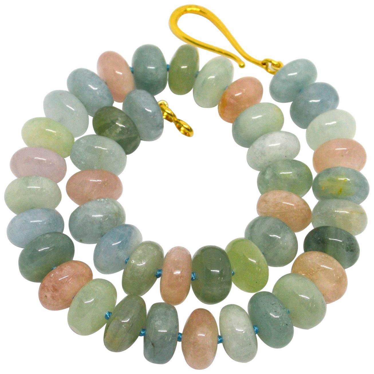 Decadent Jewels Beryl Aquamarine Morganite Gold Necklace