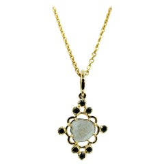 Luca Jouel Black Diamond and Slice Necklace in 18 Carat Yellow Gold