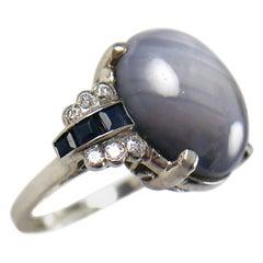 Vintage Platinum Star Sapphire Diamond Ring