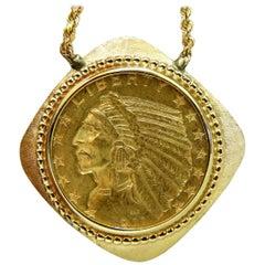 1911 Indian Head BLP $5 Gold Coin Necklace 14 Karat