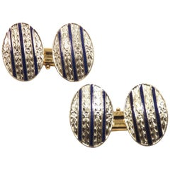 Antique Navy Enamel Engraved 18K Gold Cufflinks