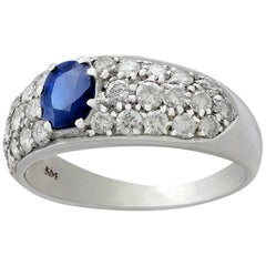 Vintage 1970s Sapphire 1.95 Carat Diamond White Gold Cocktail Ring