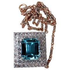 "GIA Certified 25.48ct. Natural ""Blue"" Aquamarine 15ct Diamonds Necklace 18 Karat"