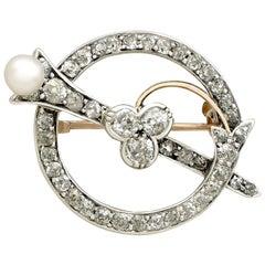Antique 1890s 1.92 Carat Diamond Pearl Yellow Gold Brooch
