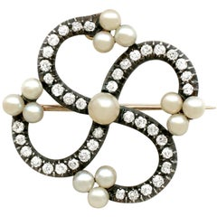 Victorian 1.50 Carat Diamond and Pearl Gold Brooch