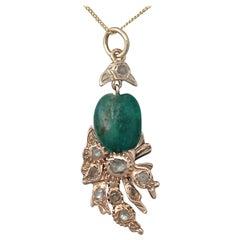 Victorian Emerald Diamond Yellow Gold Pendant