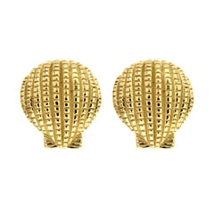 Valentin Magro Scallop Shell Earrings in Yellow Gold
