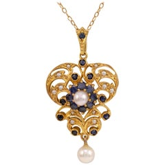 Antique Style 9 Karat Gold Sapphire and Pearl Drop Pendant Necklace