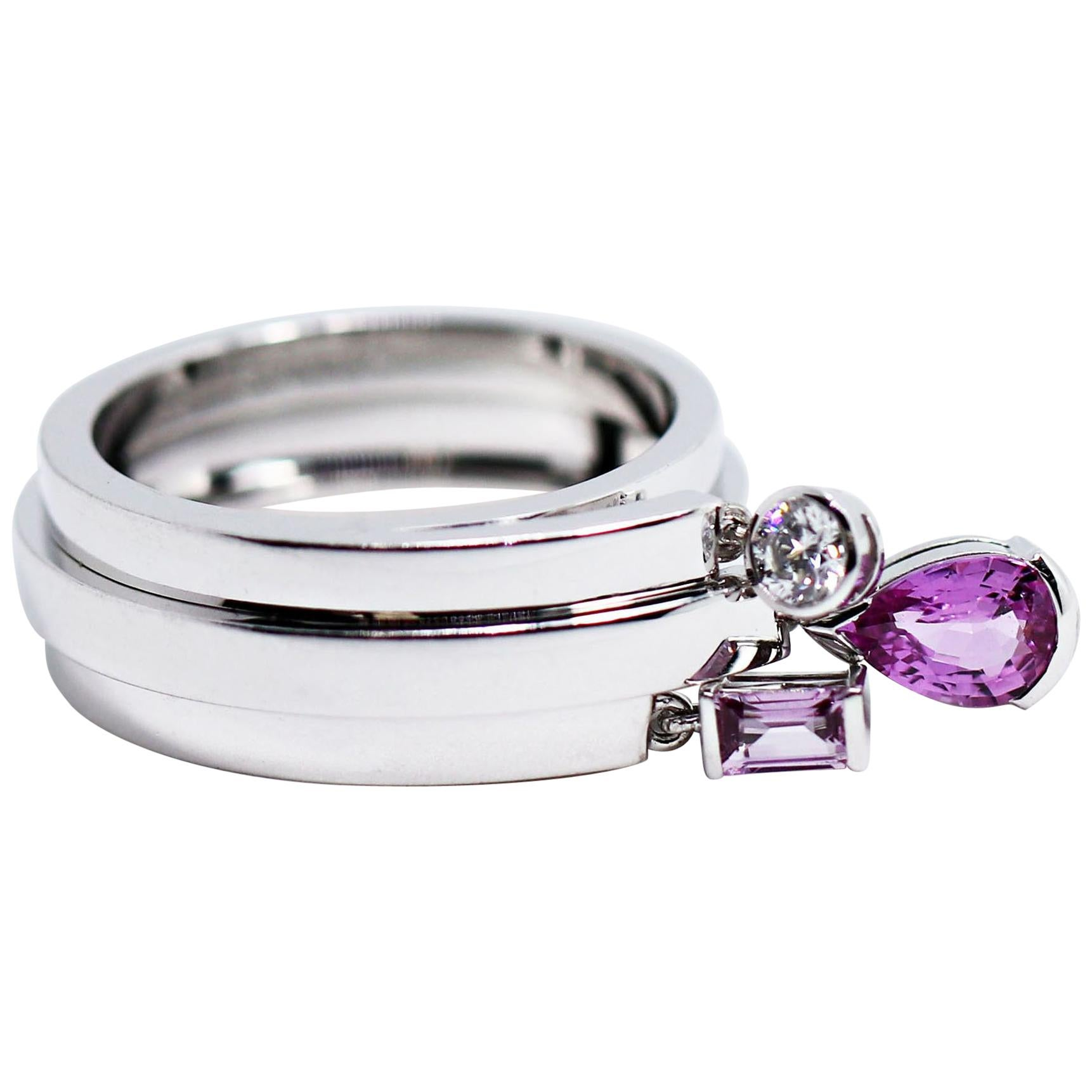 Chaumet Pink Sapphire and Diamond 18 Carat Gold Charm Ring