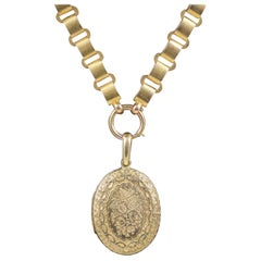 Antique Victorian Locket Collar Solid 15 Carat Gold Necklace, circa 1900