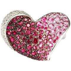 Chopard Ruby, Pink Sapphire and Diamond Heart Flower Ring