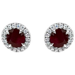 Handmade Platinum, Ruby and Diamond Surround Studs