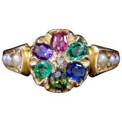 Antique Victorian Gemstone Dearest Ring 15 Carat Gold, Dated 1874