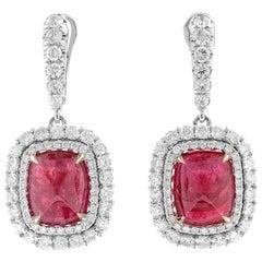 14.84 Carat Natural Red Tanzania Cushion Ruby White Gold Certified Earrings