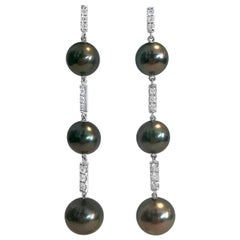 Handmade 18 Karat White Gold, Diamond and Tahitian Pearl Drop Earrings