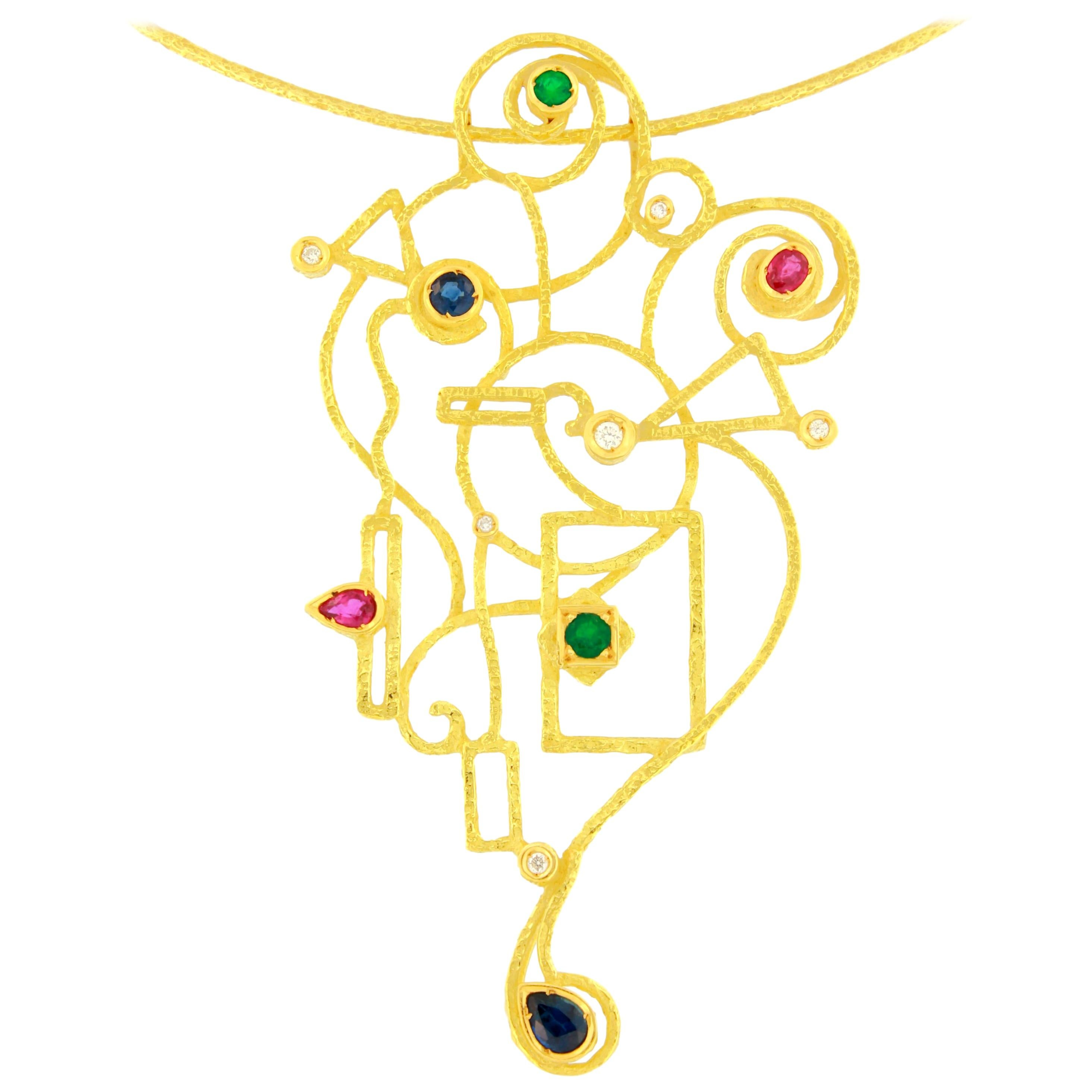 Sacchi Ruby Emerald Shapphire Gemstones 18 Karat Yellow Gold Necklace