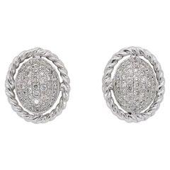 Pave Set Diamond Stud Earrings