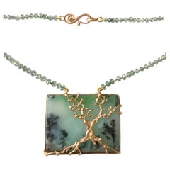 Dalben Dendritic Chrysoprase Green Sapphire and Rose Gold Necklace