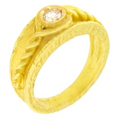 Sacchi Roman Band Ring Round Diamond Gemstone 18 Karat Yellow Gold