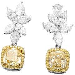GIA Certified 10.99 Carat Fancy Yellow White Cushion Diamond Gold Earrings