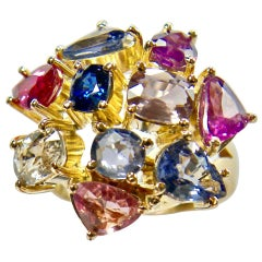 5.67 Carat Untreated Multicolored Sapphire Ring 18 Karat