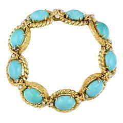 Vintage Heavy 30 Carat Turquoise VS Diamond Cuff Bracelet