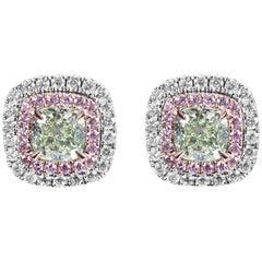 GIA Certified Natural Light Greenish Yellow Cushion Diamond Gold Stud Earrings