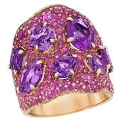 18 Karat Rose Gold, 5.99 Carat, Amethyst and 4.05 Carat, Pink Sapphire Ring